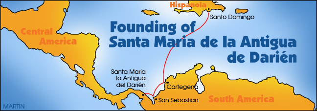 Founding of Santa Maria by Balboa